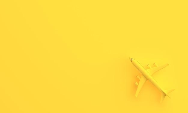コピースペースと黄色の背景の飛行機。最小限のアイデアの概念。 3dレンダリング