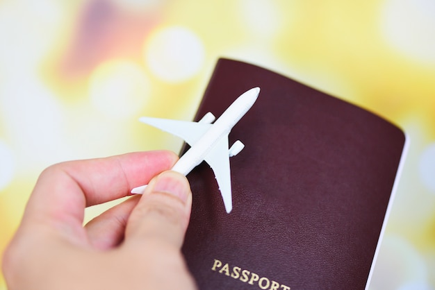 Airplane and passport in hand