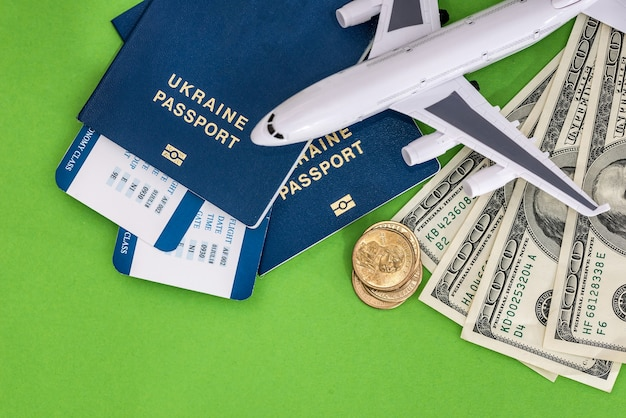 Airplane, passport, ticket and dollar on green