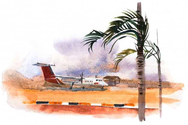 Airplane ready to take off from runway watercolor illustration