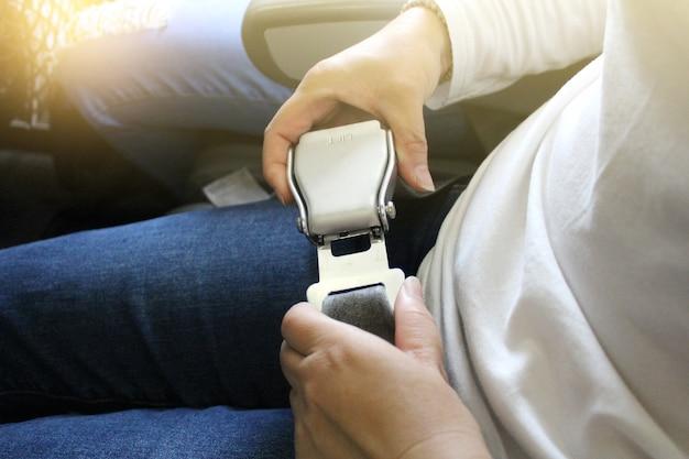 Airplane seat belt.