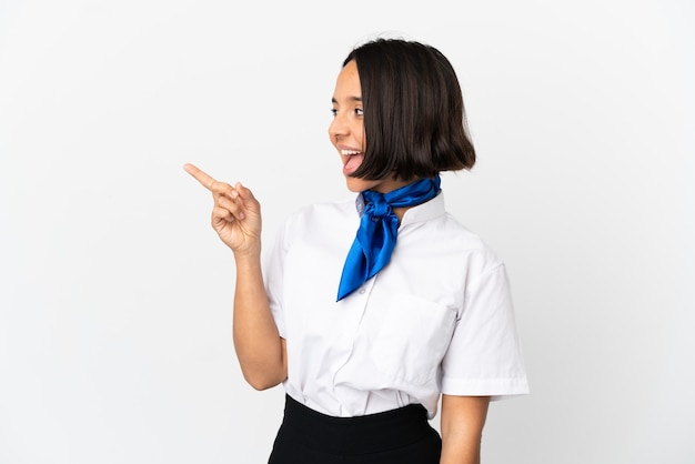 Airplane stewardess over isolated background pointing finger to the side and presenting a product