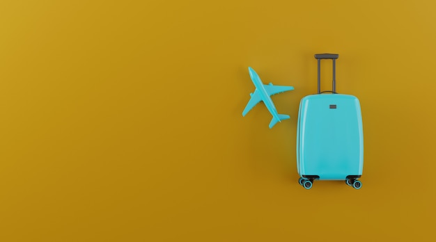 Airplane and suitcase with copy space. Premium Photo