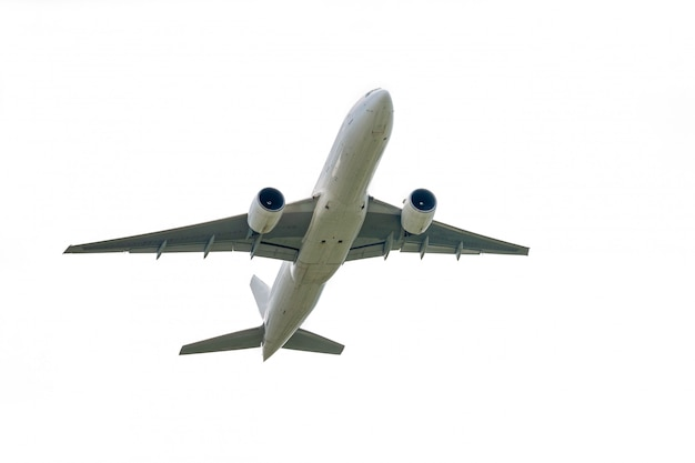 Airplane takes off from international airport isolated on white
