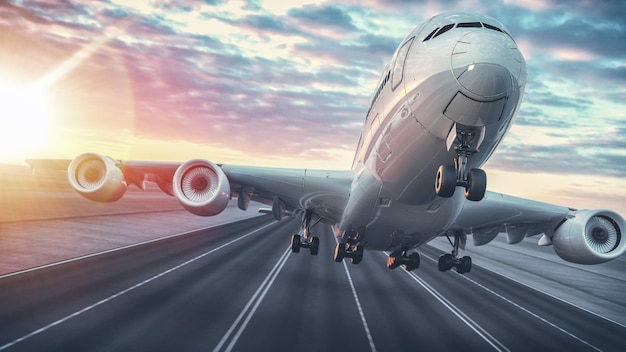 Airplane taking off from the airport.3d render and illustration.