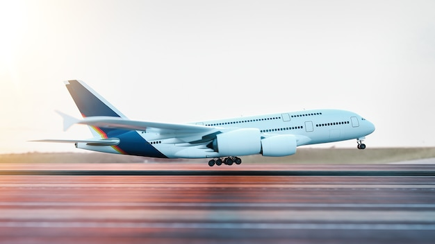 Airplane taking off from the airport. 3d rendering and illustration.
