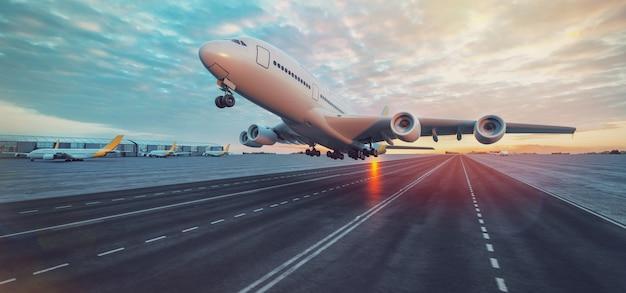 공항에서 이륙하는 비행기. 3d 렌더링 및 그림입니다.