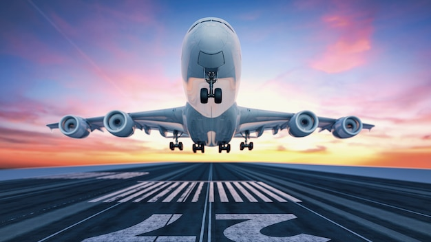 공항에서 이륙하는 비행기