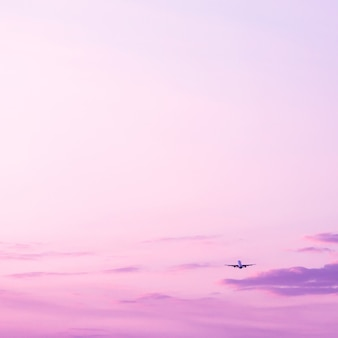 Airplane taking off and rising high in violet sunset sky vacation concept