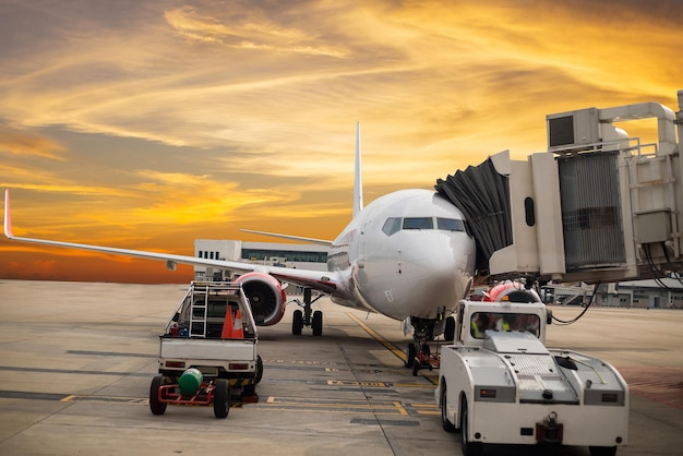 Airplane transportation prepare for flying to terminal