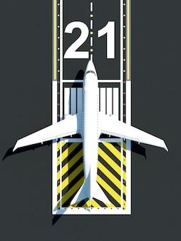 空港の滑走路で待っている飛行機