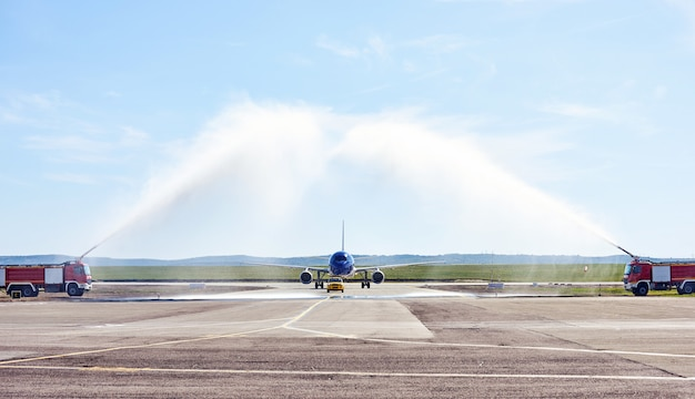 Airplane water salute procedure
