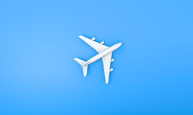 オンラインチケットと観光の概念のための青い背景の飛行機の白いモデル。 3dレンダリング。