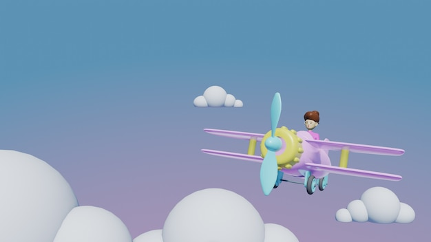 Airplane with clouds, 3d render travel concept