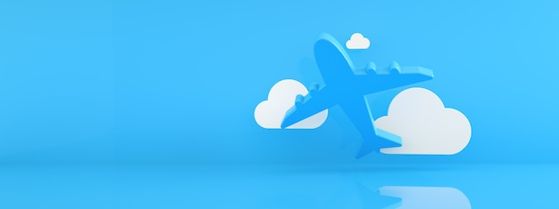 Airplane with clouds over blue background, avia travel concept, 3d rendering, panoramic mockup