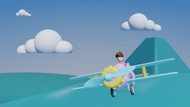 Airplane with clouds and mountain, 3d render travel concept