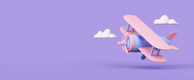 Airplane with clouds on violet background 3d rendered illustration