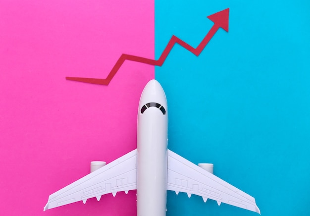 Airplane with growth arrow on pink blue