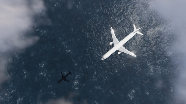 Airplane with sea reflection