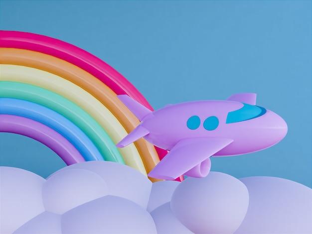 スカイスケープの背景を持つ飛行機