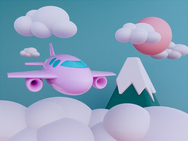 Airplane with skyscape background