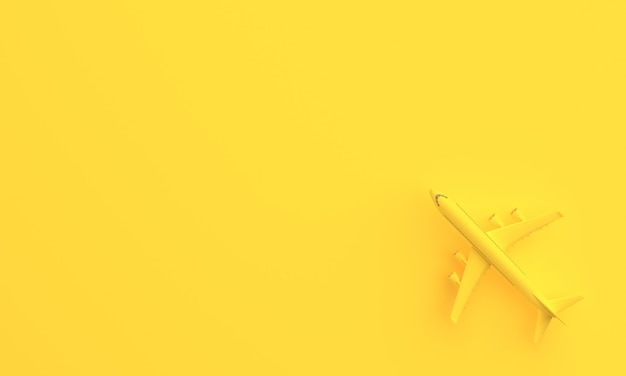 Airplane on yellow background with copy space. minimal idea concept. 3d rendering