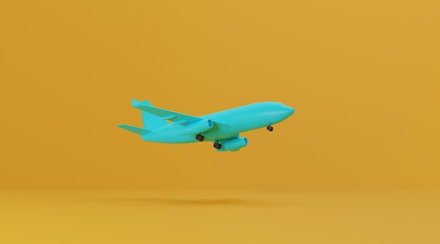Airplane on yellow background.