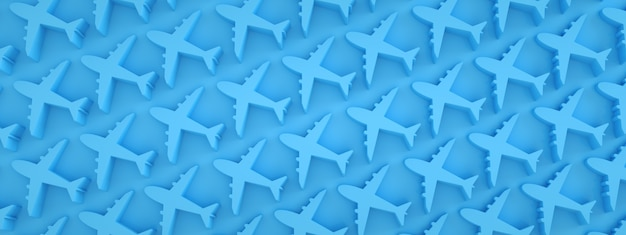 Airplanes pattern over blue background, panoramic image