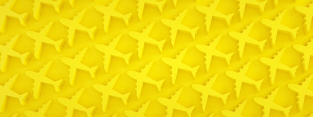 노란색 배경, 파노라마 이미지 위에 비행기 패턴