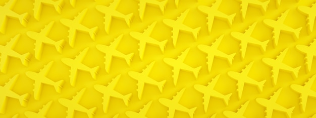 Airplanes pattern over yellow background, panoramic image