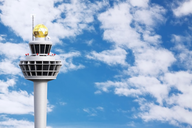 푸른 하늘 흐린 배경에 공항 항공 교통 관제탑 건물. 3d 렌더링