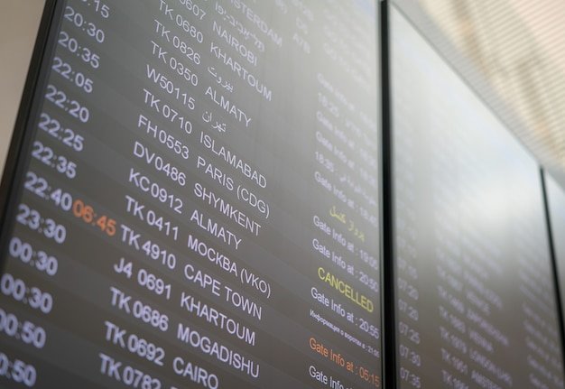 Airport board of departures and canceled flights