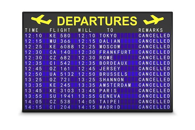 Табло вылета аэропорта с отмененными рейсами. 3d визуализация.