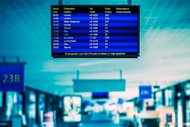 Airport flight schedule with the list of flights