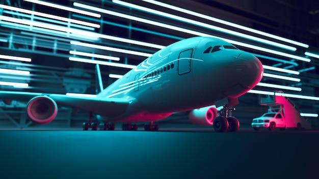 공항 야간 항공 운송. 3d 렌더링 및 그림입니다.