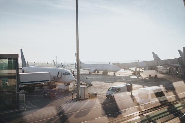 空港の離陸場。窓からの眺め。多くの航空機やサービス機器があります。