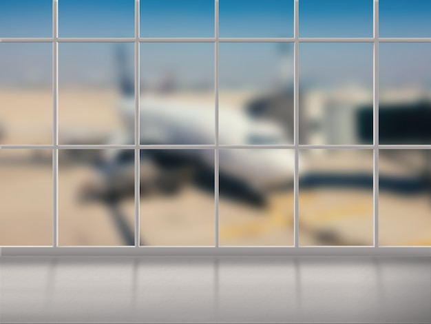Airport terminal with airplane blurred background