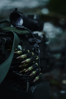 Airsoft 카트리지와 총알은 숲에서 닫힙니다.