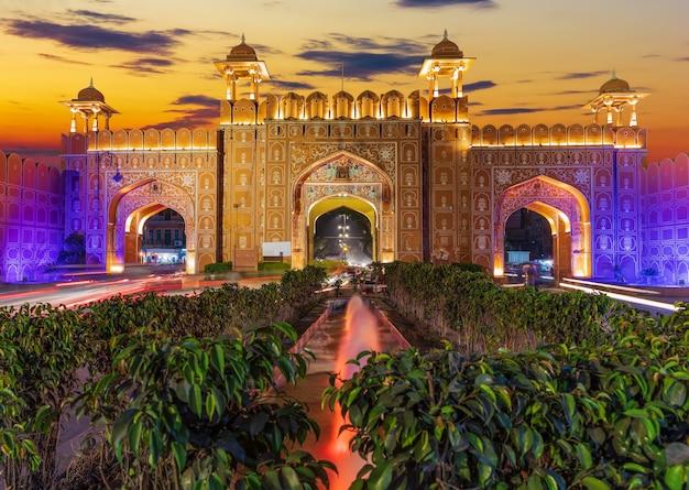 Ajmeri gate at sunset in jaipur, rajasthan, india.