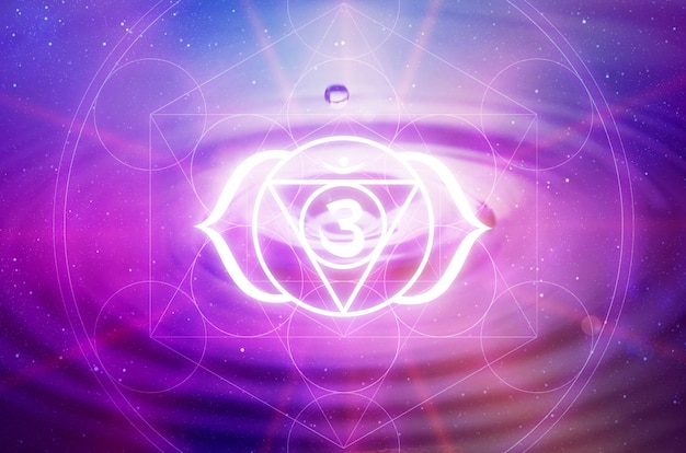 Ajna chakra symbol on a purple background. this is the sixth chakra, also called the third eye chakra