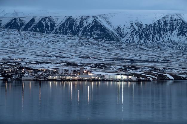 Akureyri city in the winter, iceland