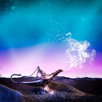 Aladdin lamp in desert Premium Photo