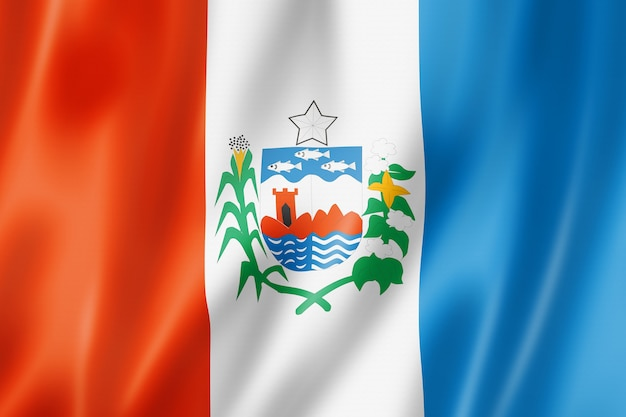 Alagoas state flag, brazil waving banner collection. 3d illustration