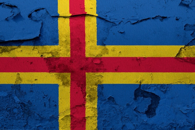 Aland flag painted on grunge cracked wall