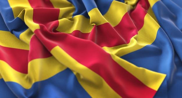 Bandiera degli isole alandia increspata splendida salita macro close-up shot