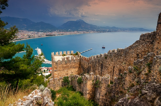 Alanya town view from alanya castle in turkey
