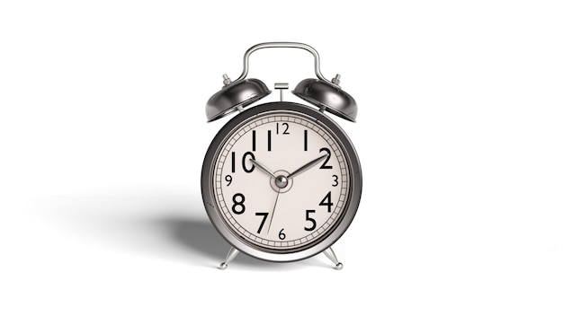 Alarm clock antique and old style and there are traces of dirt and rust with clipping path.