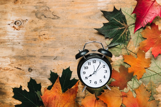 Alarm clock and autumn leaves on wooden background