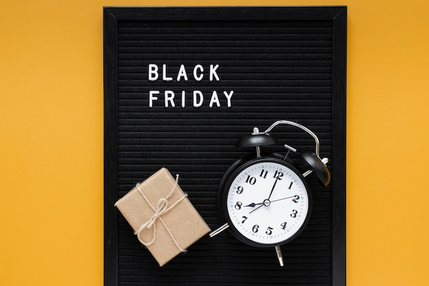 Alarm clock on black friday frame