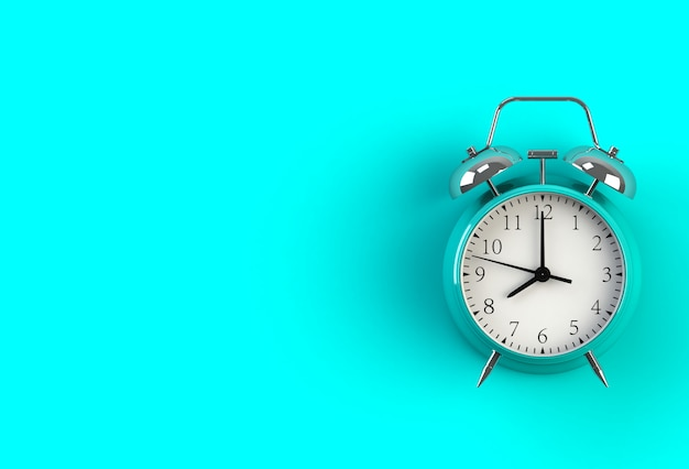 Alarm clock on blue background, 3d rendering